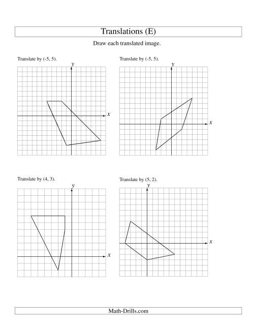 The Translation of 4 Vertices up to 6 Units (E) Math Worksheet