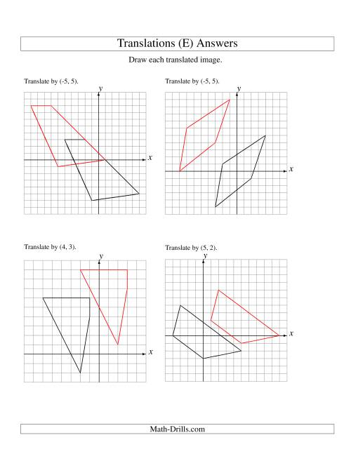 The Translation of 4 Vertices up to 6 Units (E) Math Worksheet Page 2