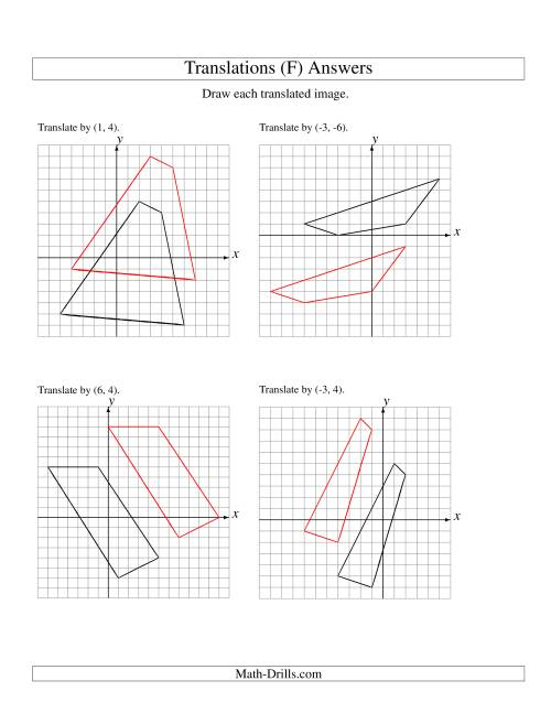 The Translation of 4 Vertices up to 6 Units (F) Math Worksheet Page 2