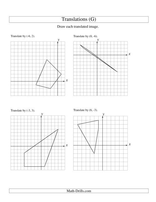 The Translation of 4 Vertices up to 6 Units (G) Math Worksheet