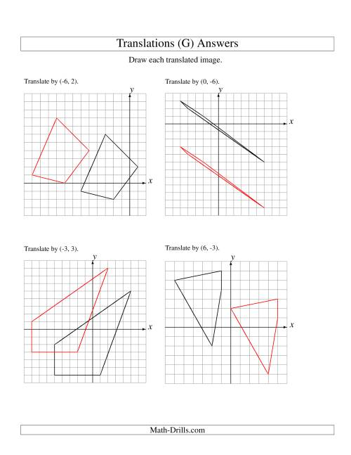 The Translation of 4 Vertices up to 6 Units (G) Math Worksheet Page 2