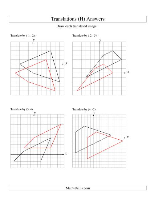 The Translation of 4 Vertices up to 6 Units (H) Math Worksheet Page 2