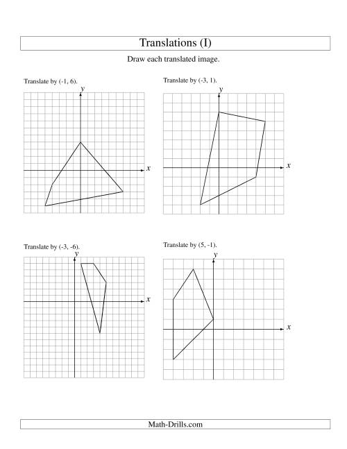 The Translation of 4 Vertices up to 6 Units (I) Math Worksheet