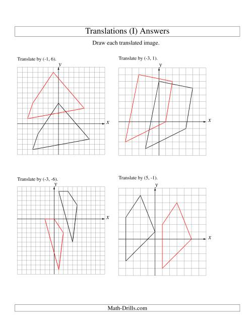 The Translation of 4 Vertices up to 6 Units (I) Math Worksheet Page 2