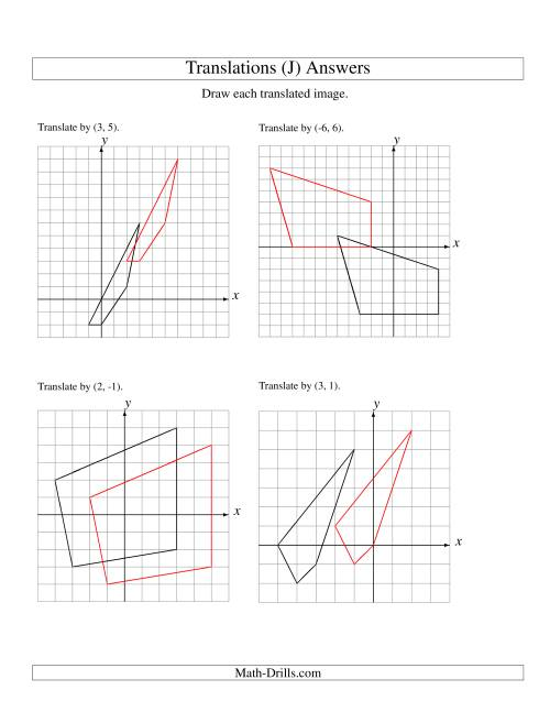 The Translation of 4 Vertices up to 6 Units (J) Math Worksheet Page 2