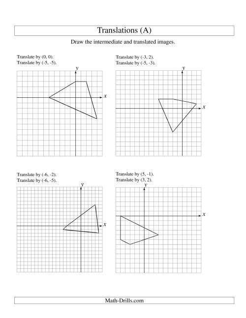 The Two-Step Translation of 4 Vertices up to 6 Units (A) Geometry Worksheet