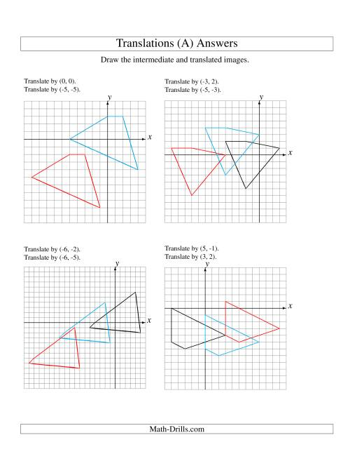 The Two-Step Translation of 4 Vertices up to 6 Units (A) Math Worksheet Page 2