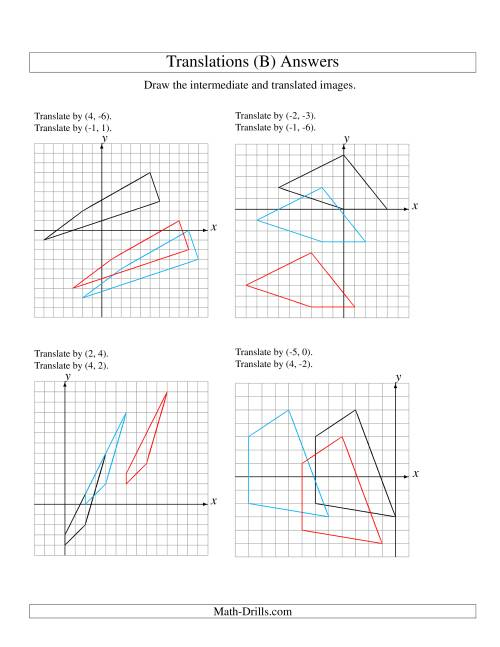 The Two-Step Translation of 4 Vertices up to 6 Units (B) Math Worksheet Page 2