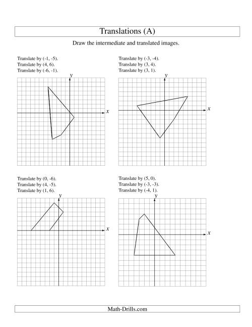 The Three-Step Translation of 4 Vertices up to 6 Units (A) Geometry Worksheet