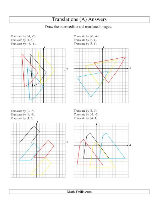 The Three-Step Translation of 4 Vertices up to 6 Units (A) Math Worksheet Page 2