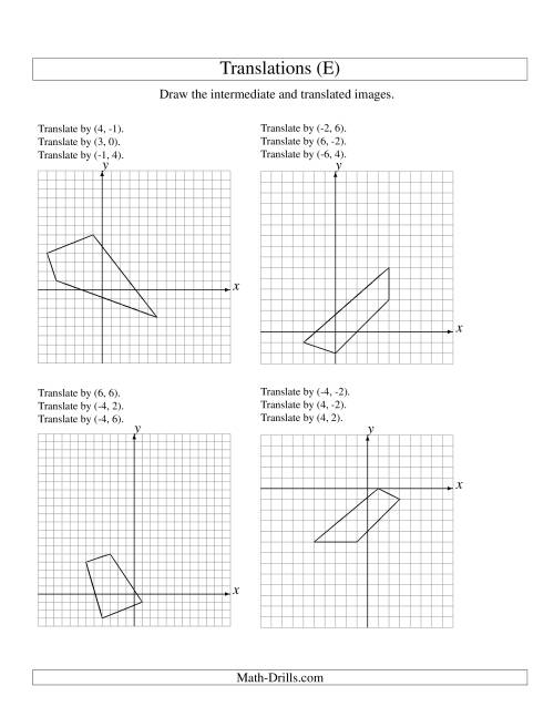 The Three-Step Translation of 4 Vertices up to 6 Units (E) Math Worksheet