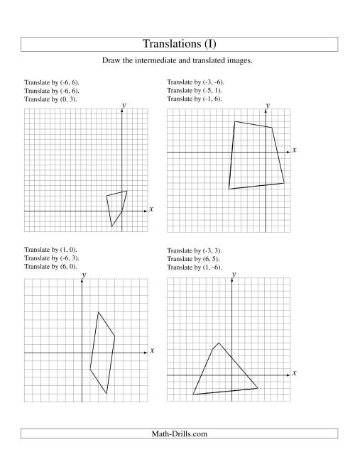 The Three-Step Translation of 4 Vertices up to 6 Units (I) Math Worksheet