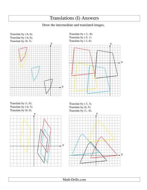 The Three-Step Translation of 4 Vertices up to 6 Units (I) Math Worksheet Page 2
