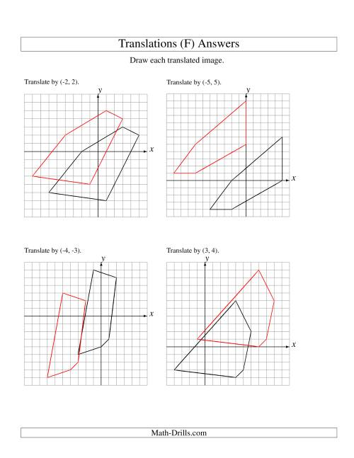The Translation of 5 Vertices up to 6 Units (F) Math Worksheet Page 2