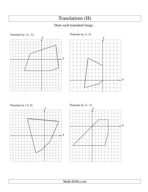 The Translation of 5 Vertices up to 6 Units (H) Geometry Worksheet ...