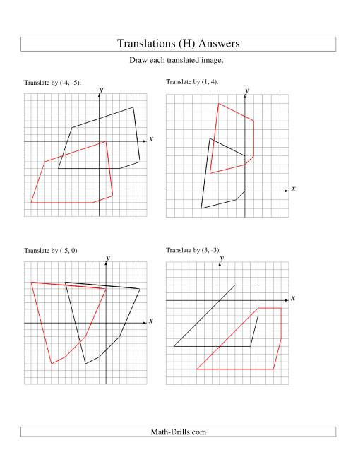 The Translation of 5 Vertices up to 6 Units (H) Math Worksheet Page 2