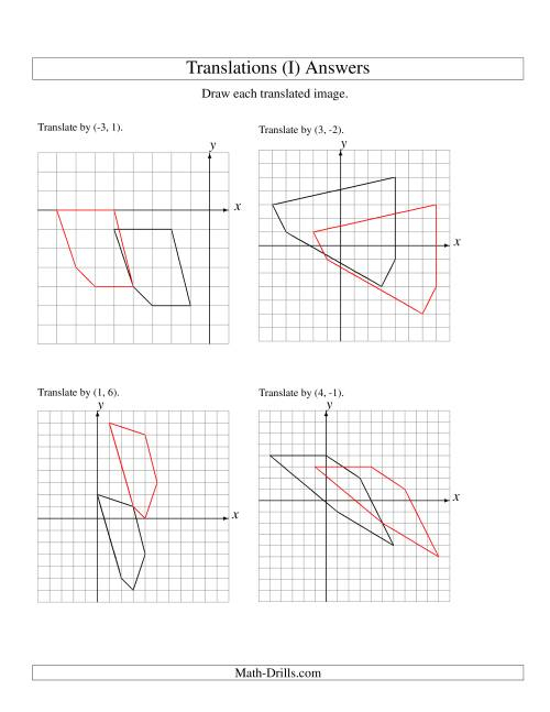 The Translation of 5 Vertices up to 6 Units (I) Math Worksheet Page 2