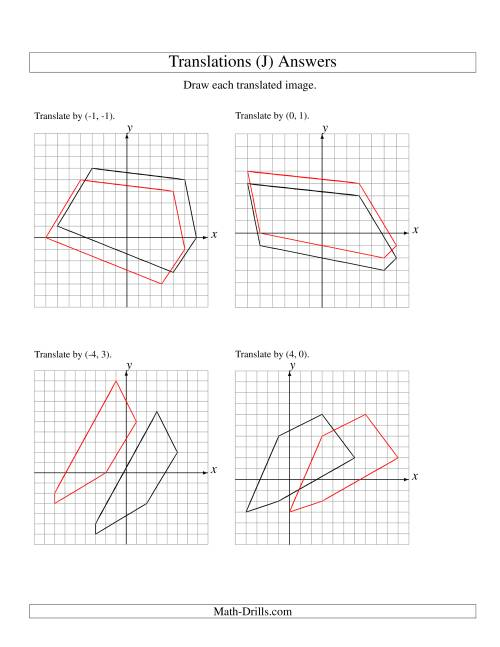 The Translation of 5 Vertices up to 6 Units (J) Math Worksheet Page 2
