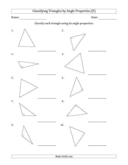 The Classifying Triangles by Angle Properties (Marks Included on Question Page) (F) Math Worksheet