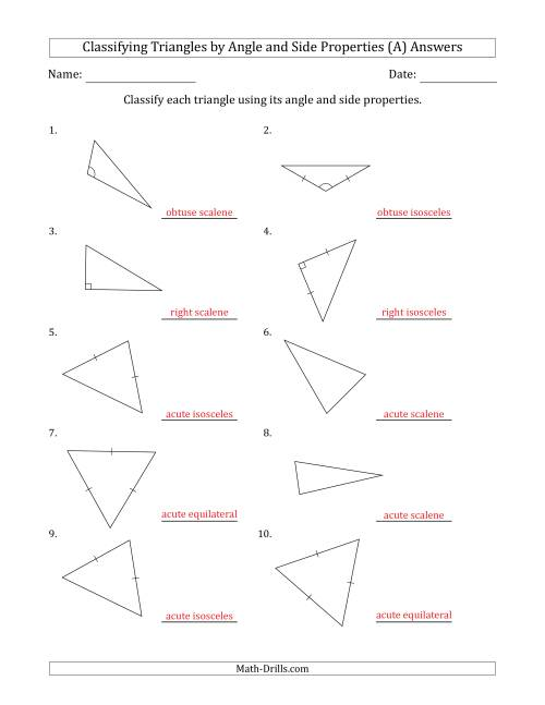 Classify triangles worksheet pdf