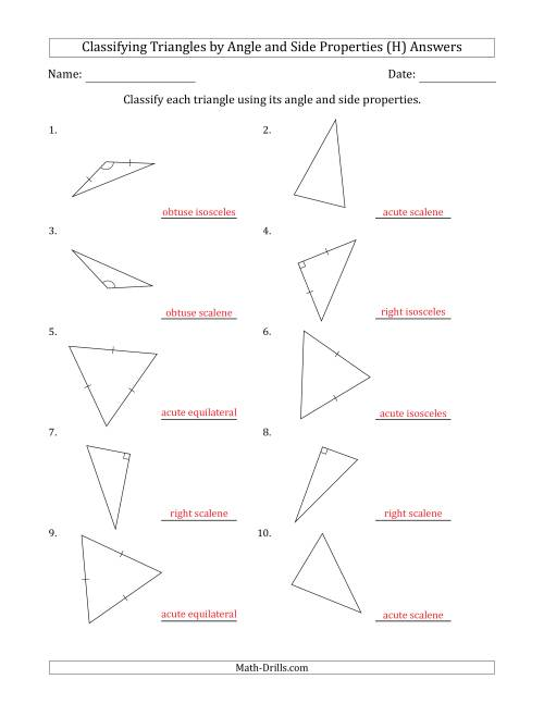 Classifying Triangles by Angle and Side Properties (Marks