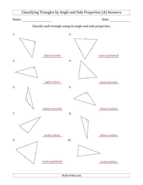 The Classifying Triangles by Angle and Side Properties (No Marks on Question Page) (A) Math Worksheet Page 2