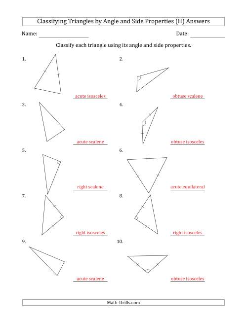 The Classifying Triangles by Angle and Side Properties (No Marks on Question Page) (H) Math Worksheet Page 2