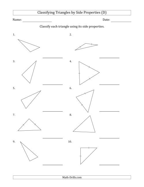 The Classifying Triangles by Side Properties (Marks Included on Question Page) (D) Math Worksheet