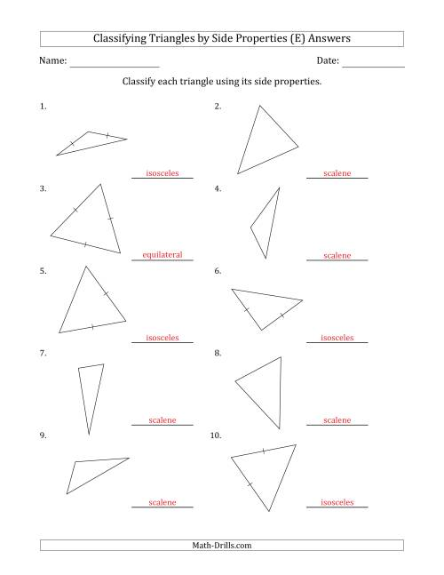 The Classifying Triangles by Side Properties (Marks Included on Question Page) (E) Math Worksheet Page 2