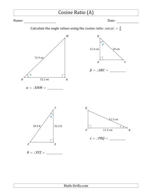 The Calculating Angle Values Using the Cosine Ratio (A) Math Worksheet