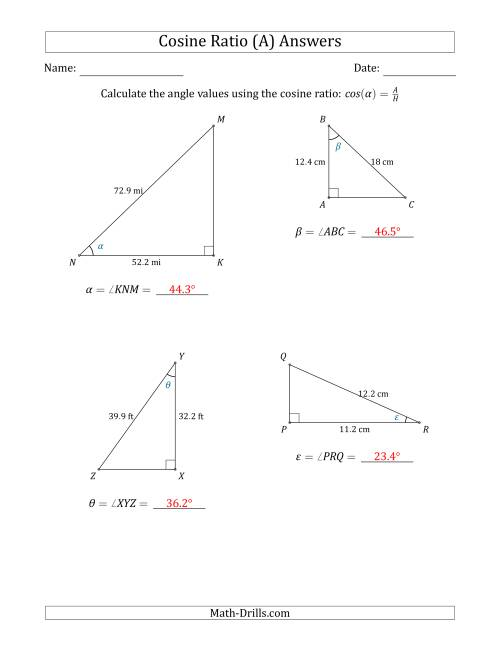 The Calculating Angle Values Using the Cosine Ratio (A) Math Worksheet Page 2
