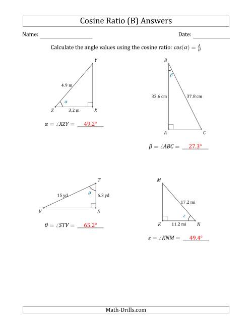 The Calculating Angle Values Using the Cosine Ratio (B) Math Worksheet Page 2