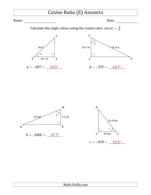 The Calculating Angle Values Using the Cosine Ratio (E) Math Worksheet Page 2