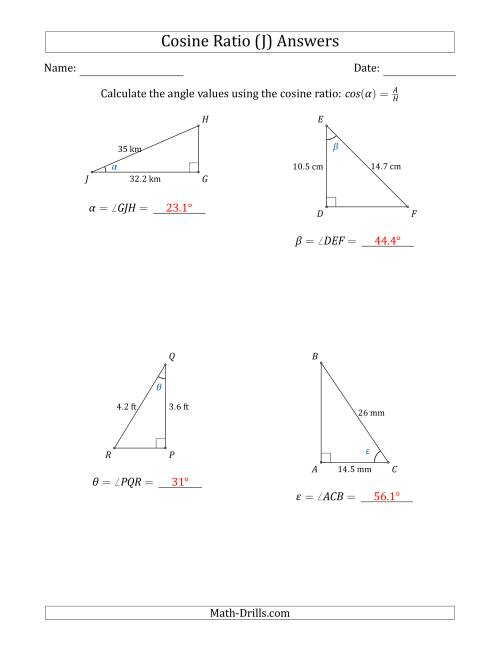 The Calculating Angle Values Using the Cosine Ratio (J) Math Worksheet Page 2