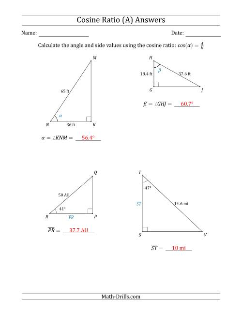The Calculating Angle and Side Values Using the Cosine Ratio (A) Math Worksheet Page 2