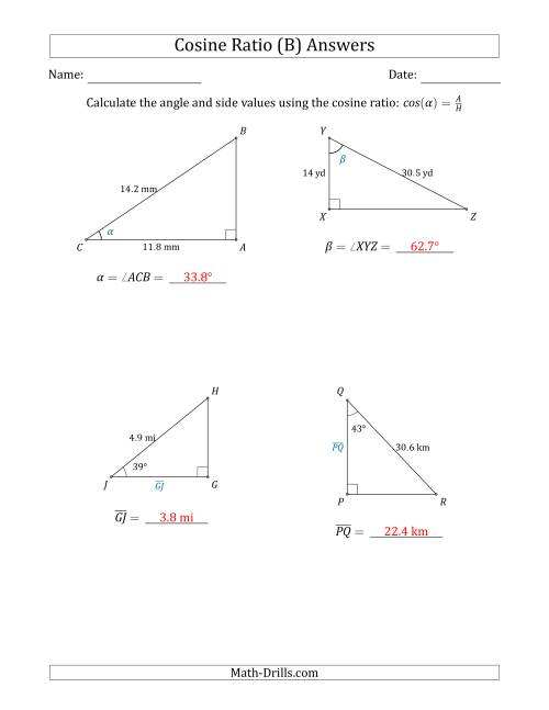 The Calculating Angle and Side Values Using the Cosine Ratio (B) Math Worksheet Page 2