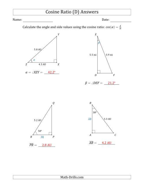 The Calculating Angle and Side Values Using the Cosine Ratio (D) Math Worksheet Page 2