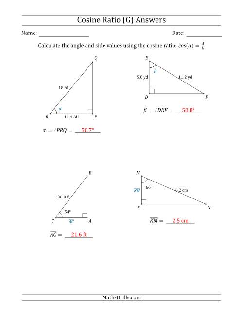 The Calculating Angle and Side Values Using the Cosine Ratio (G) Math Worksheet Page 2