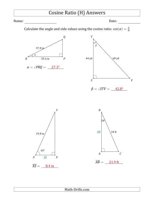 The Calculating Angle and Side Values Using the Cosine Ratio (H) Math Worksheet Page 2