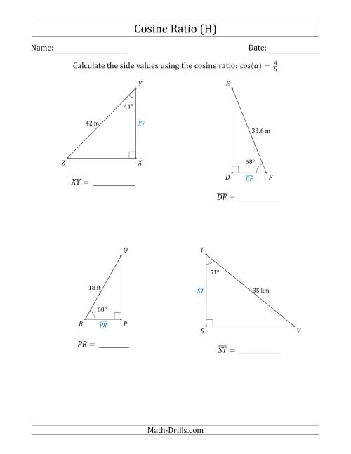 The Calculating Side Values Using the Cosine Ratio (H) Math Worksheet
