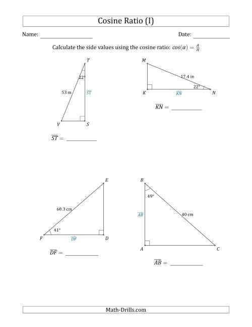 The Calculating Side Values Using the Cosine Ratio (I) Math Worksheet