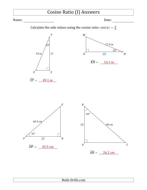 The Calculating Side Values Using the Cosine Ratio (I) Math Worksheet Page 2