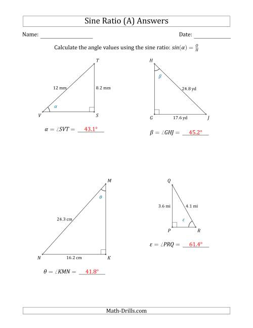 Calculating Angle Values Using the Sine Ratio (A)