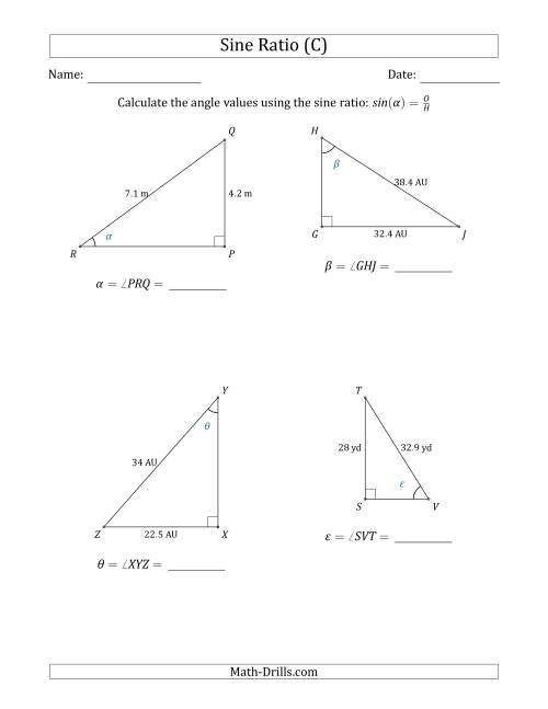 The Calculating Angle Values Using the Sine Ratio (C) Math Worksheet