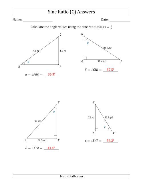 The Calculating Angle Values Using the Sine Ratio (C) Math Worksheet Page 2