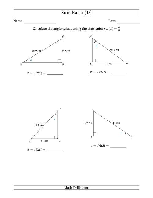 Calculating Angle Values Using the Sine Ratio (D)