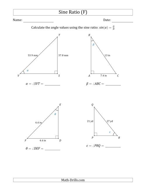 The Calculating Angle Values Using the Sine Ratio (F) Math Worksheet