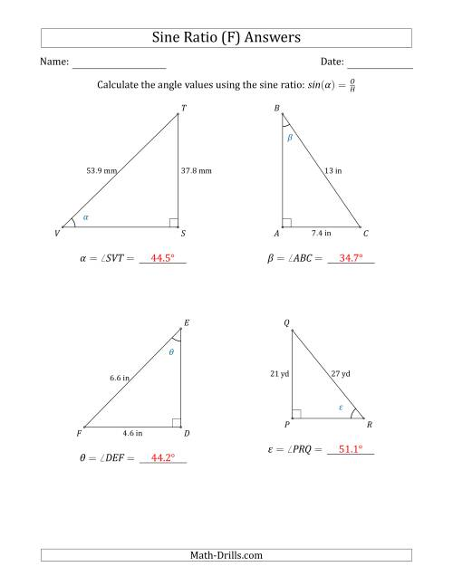The Calculating Angle Values Using the Sine Ratio (F) Math Worksheet Page 2