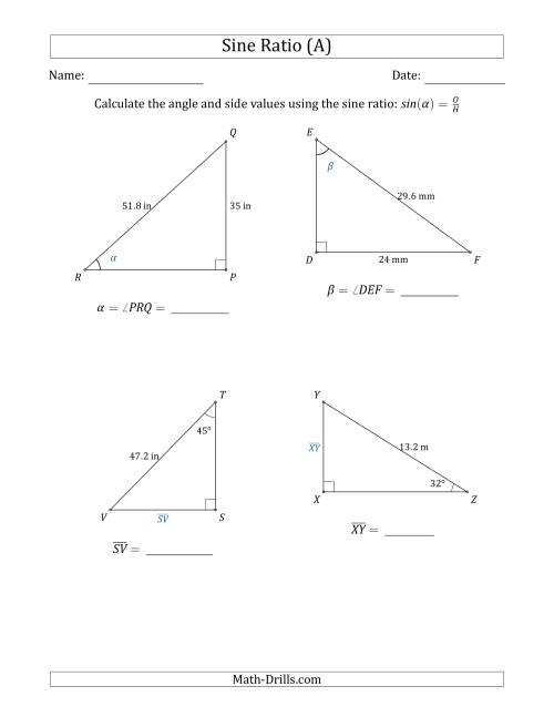 The Calculating Angle and Side Values Using the Sine Ratio (A) Math Worksheet