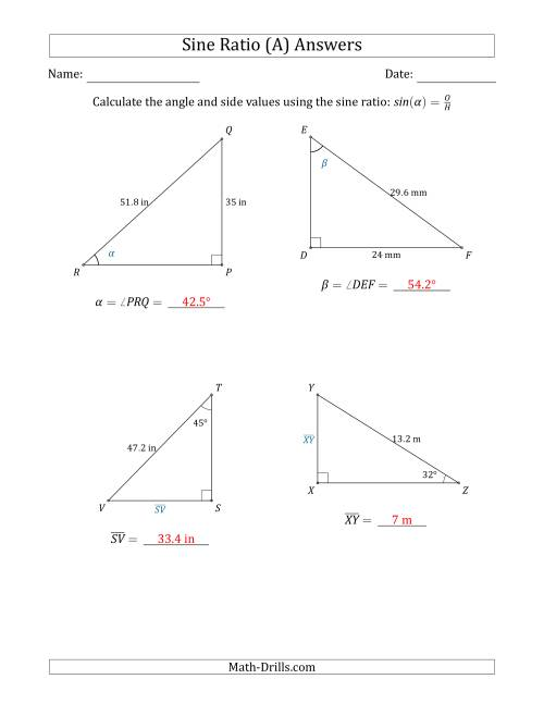 The Calculating Angle and Side Values Using the Sine Ratio (A) Math Worksheet Page 2